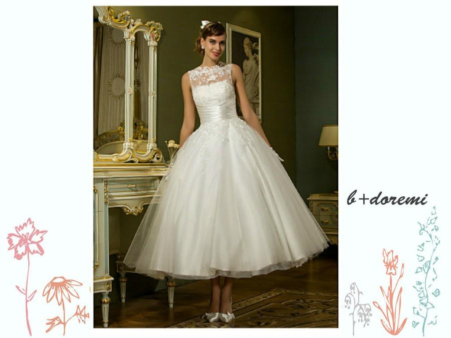 Wedding - Vintage 1950s Style Tea Length Lace and Tulle Wedding Dress with Open V back and with Illusion Neckline