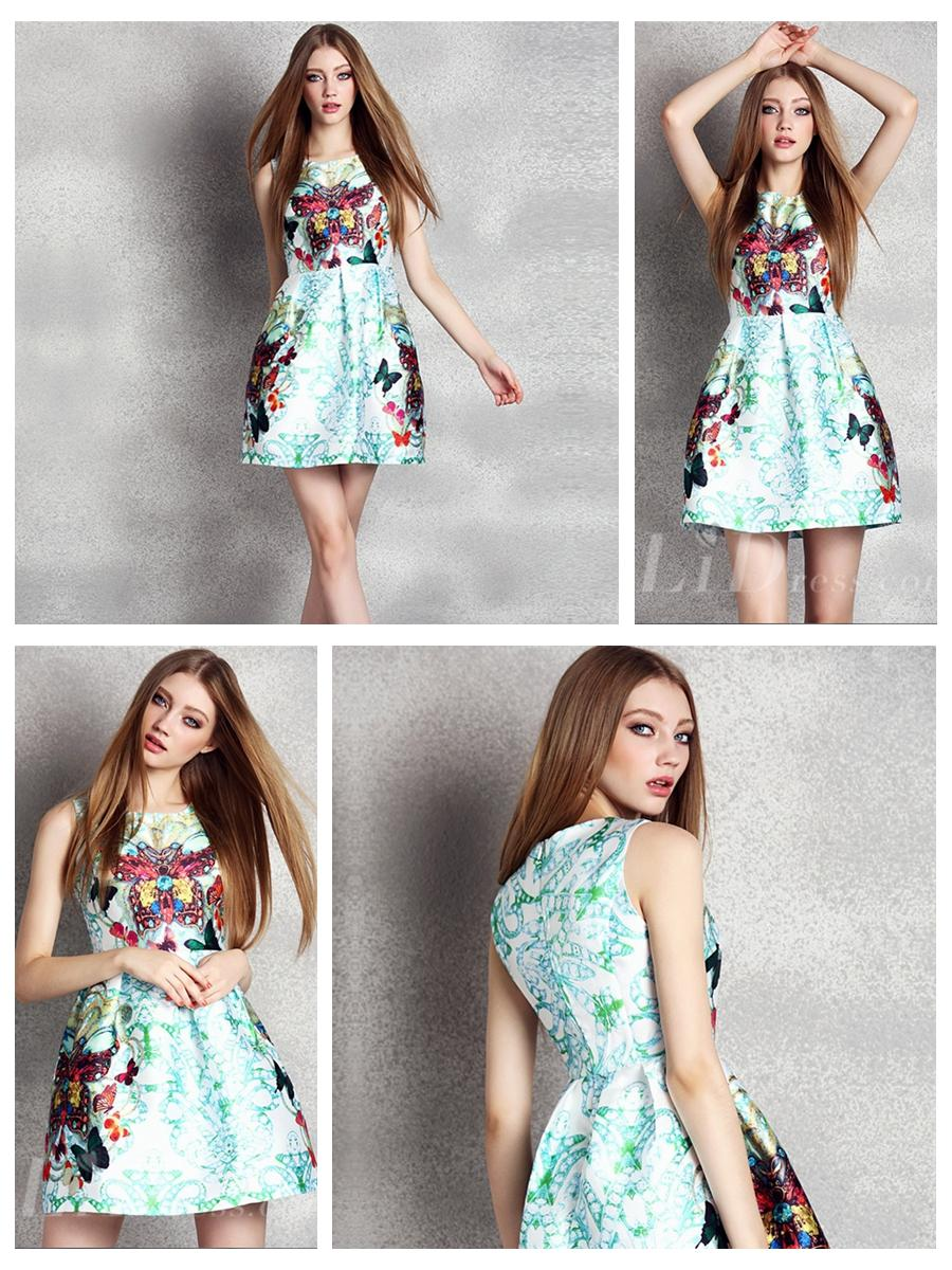 Свадьба - Butterfly Print Mini Dress