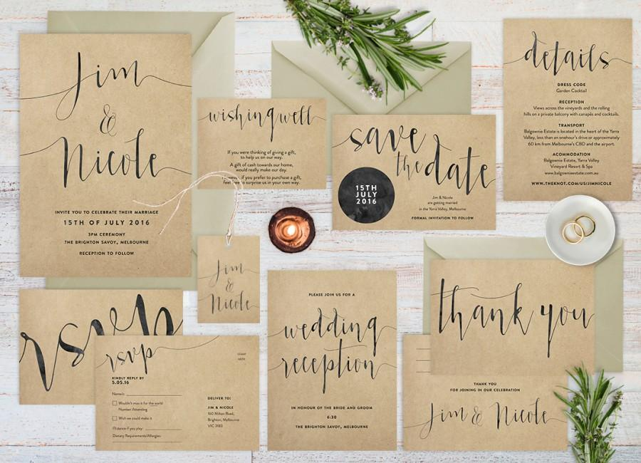 Incroyable Wedding Invitation Set, Rustic Wedding Invitation Set, Wedding Set, Kraft  Paper Wedding Invitation, Printable Wedding Invitation Set
