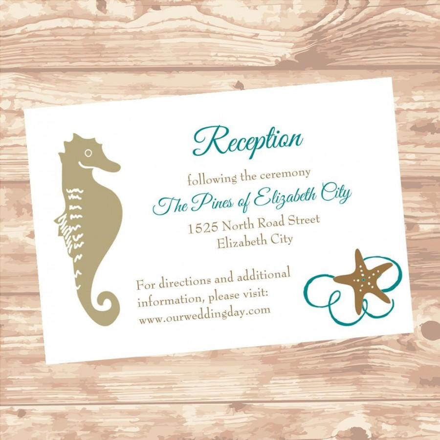 Wedding Reception Or Information Insert Card DIY Template Seashel – Wedding Information Card Template