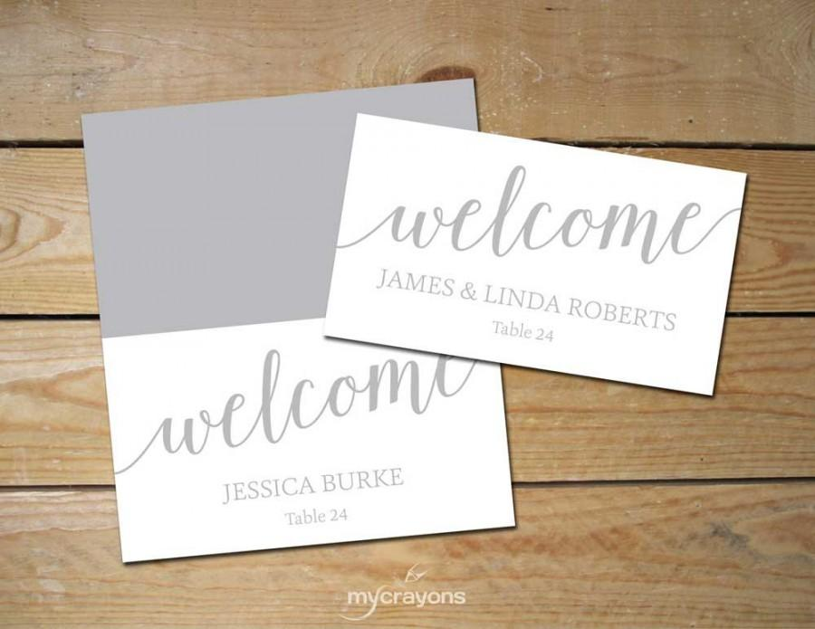 Printable place cards silver diy place cards grey for Place card for wedding