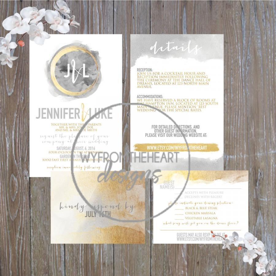 Mariage - Printable gold and gray wedding invitation suite