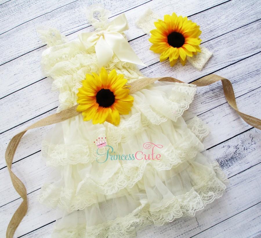 Ivory Vintage Sunflower Rustic Burlap Flower Girl Dress Country
