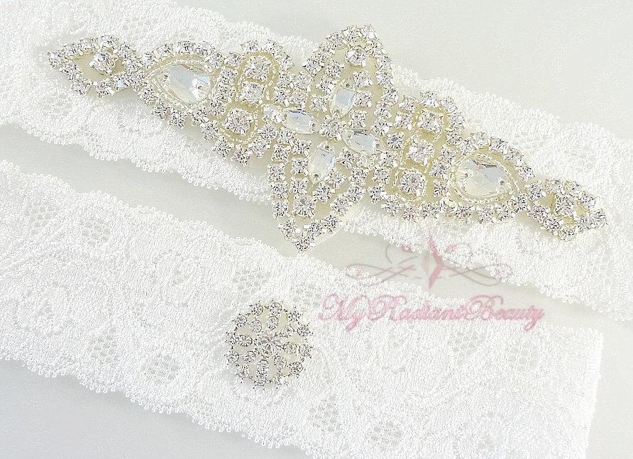 Hochzeit - Garter Set, Wedding Garter, Bridal Garter Belt, Crystal Applique Garter, Rhinestone Garter, Garters, Handmade Garter, Beaded Garter GTA0058