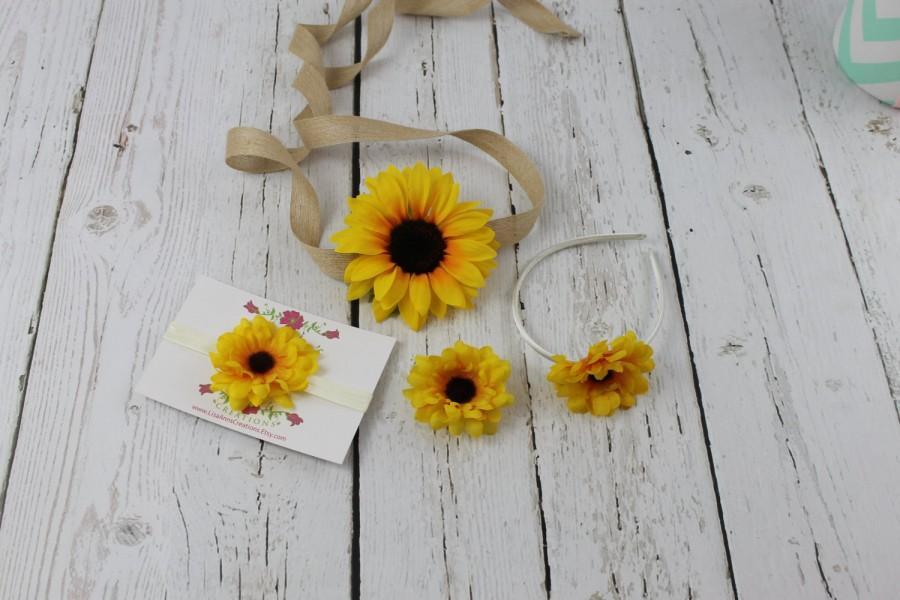 زفاف - Sunflower Sash & Sunflower Headband Flower Girl Dress Accessory Rustic Girls Dress Junior Bridesmaid Dress Country Shabby Chic Wedding