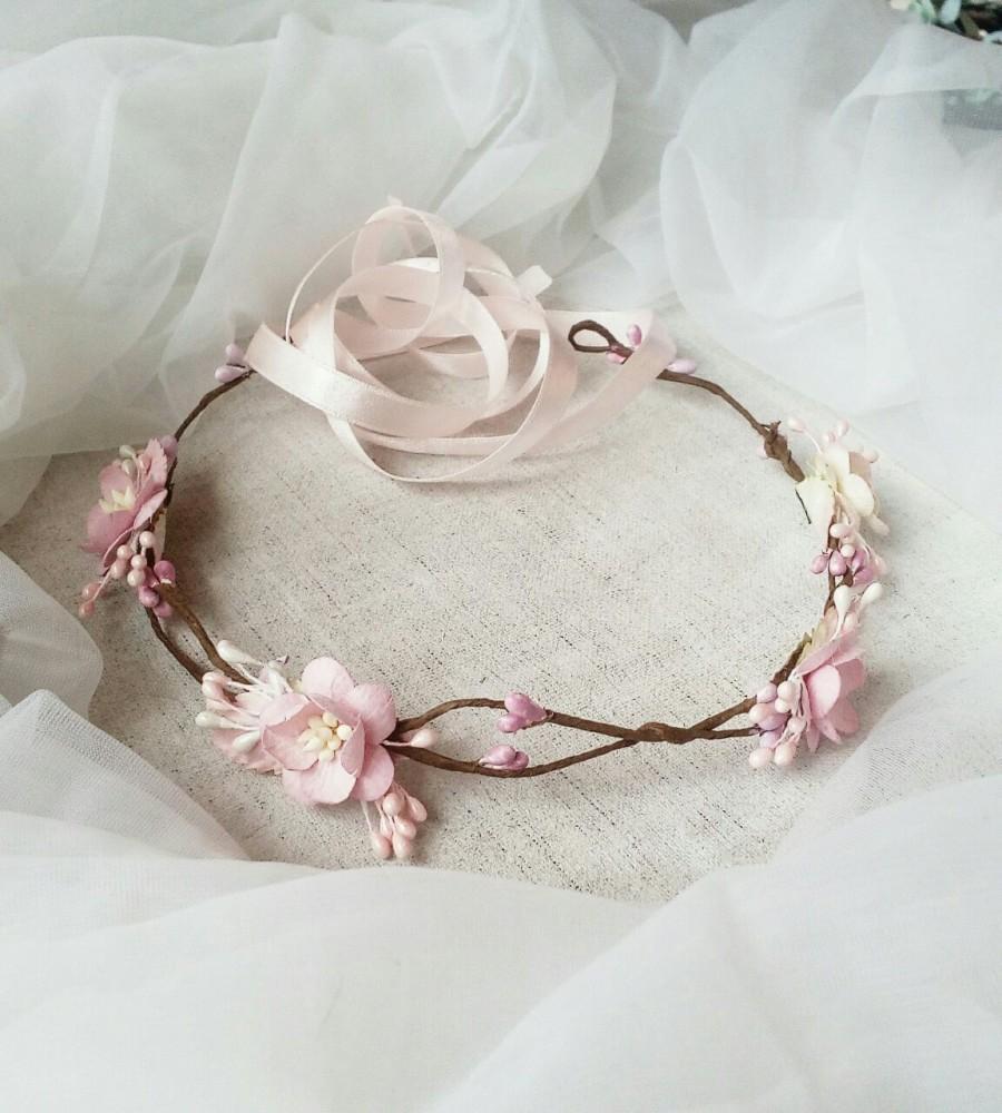زفاف - Bridal Flower Crown, Flower Girl Crown, Woodland Headdress, Boho Wedding Headpiece, Bridal Head Wreath, Flower Crown - Boho Wedding