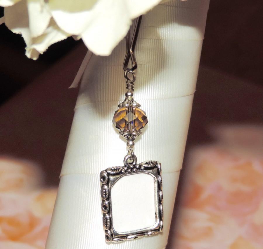زفاف - Wedding bouquet photo charm. Topaz crystal Bridal bouquet charm. Memorial picture charm. Bridal shower gift. Birthstone Gift for the bride.