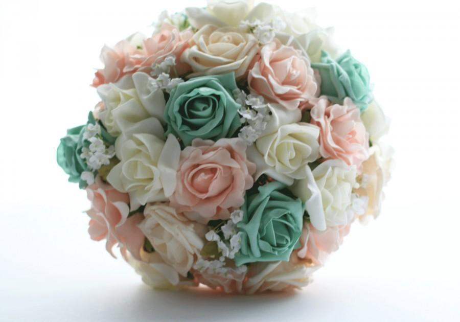Hochzeit - Wedding bouquet shabby chic, rustic, ivory, mint and peach with and baby's breath and lace made to order