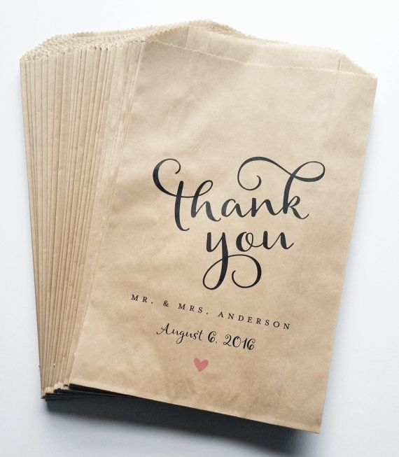 Wedding Candy Buffet Brown Kraft Favor Bags Calligraphy Script Font Pink Heart Custom Bar
