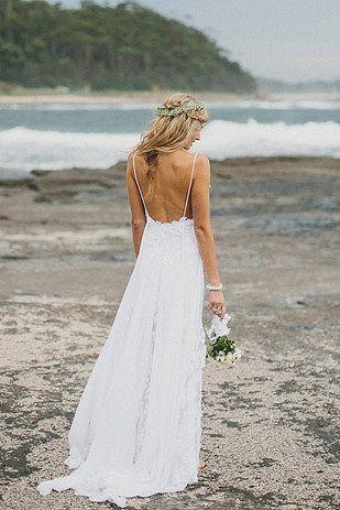290c322399c Boho Summer Beach Wedding Dresses A Line Spaghetti Straps Lace Bodice  Chiffon Skirt Backless Open Back White Wedding Gown From Meetdresse