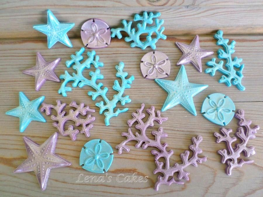 Set 60 Under The Sea Edible Cake Cupcake Fondant Toppers Decor Party