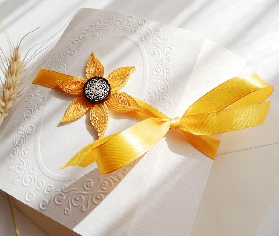 Sunflower Wedding Invitation Unique Handmade Yellow Elegant Quilling Invite