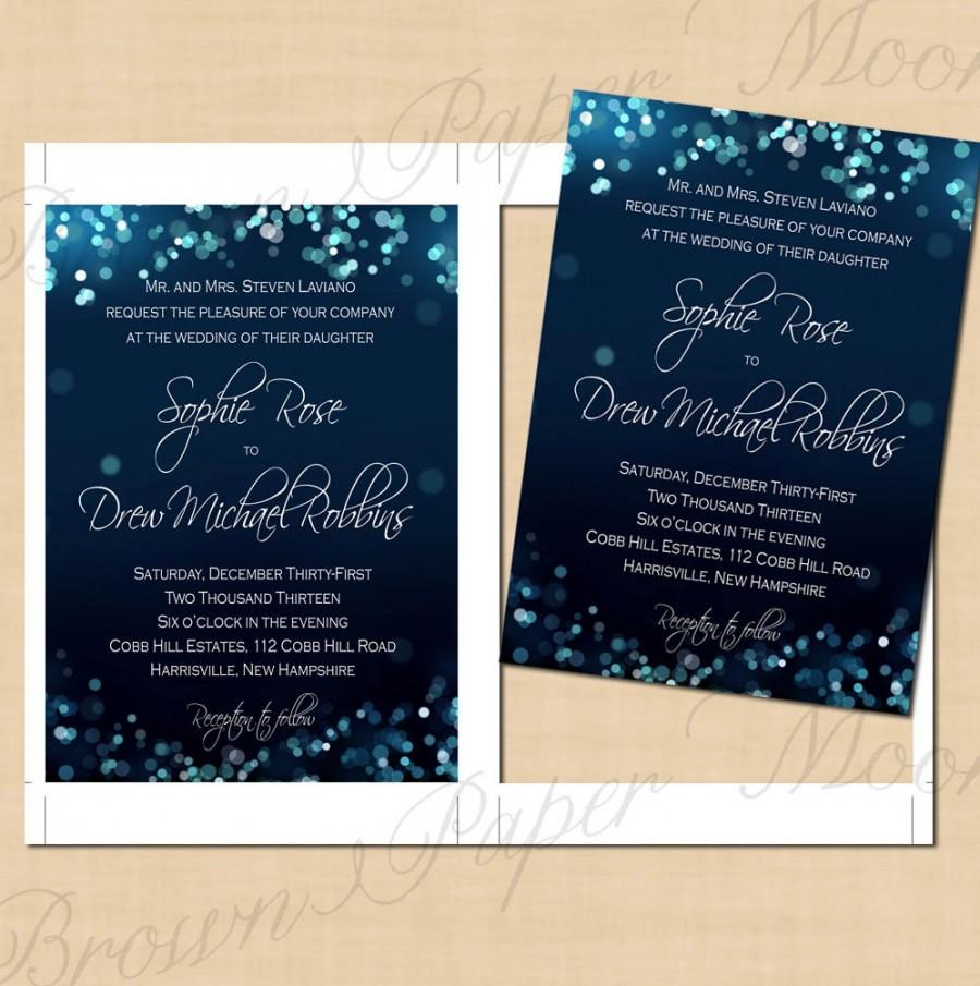 Midnight Blue Night Sky Wedding Invitations 5x7 Text Editable