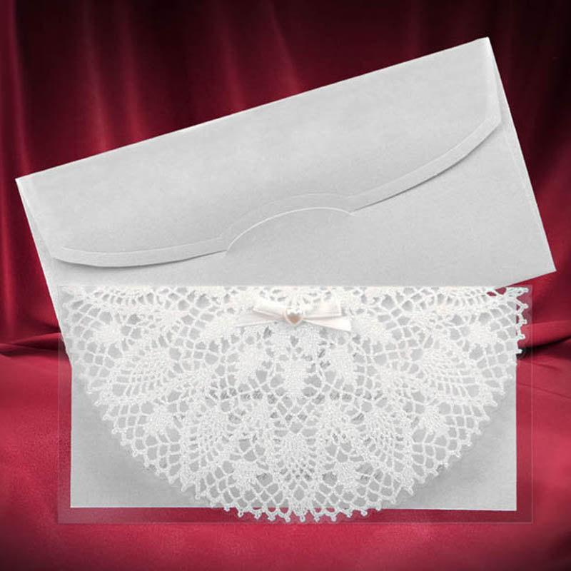 Lace Wedding Invitation Card Beautiful Invitations Shiny White Pattern Glam Elegant Formal Script Bow Bead