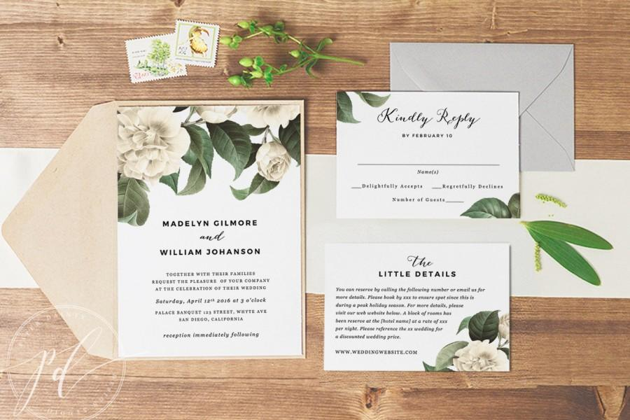 Wedding Invitation Template Printable, Editable Text, Instant Download,  Botanical Vintage Florals, Edit In Word Or Pages