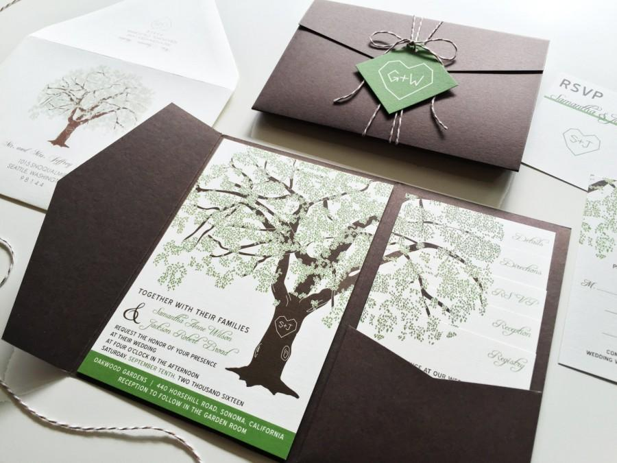 sample oak tree wedding invitation rustic wedding invitation, Wedding invitations