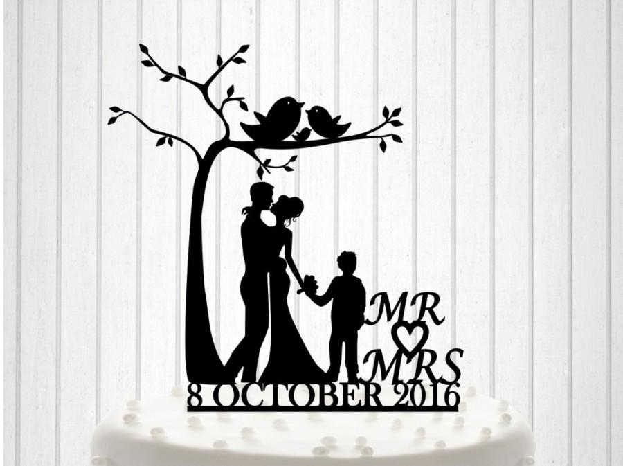 Knit Family - Wedding Cake Topper, Romantic Tree Wedding Cake Topper ...