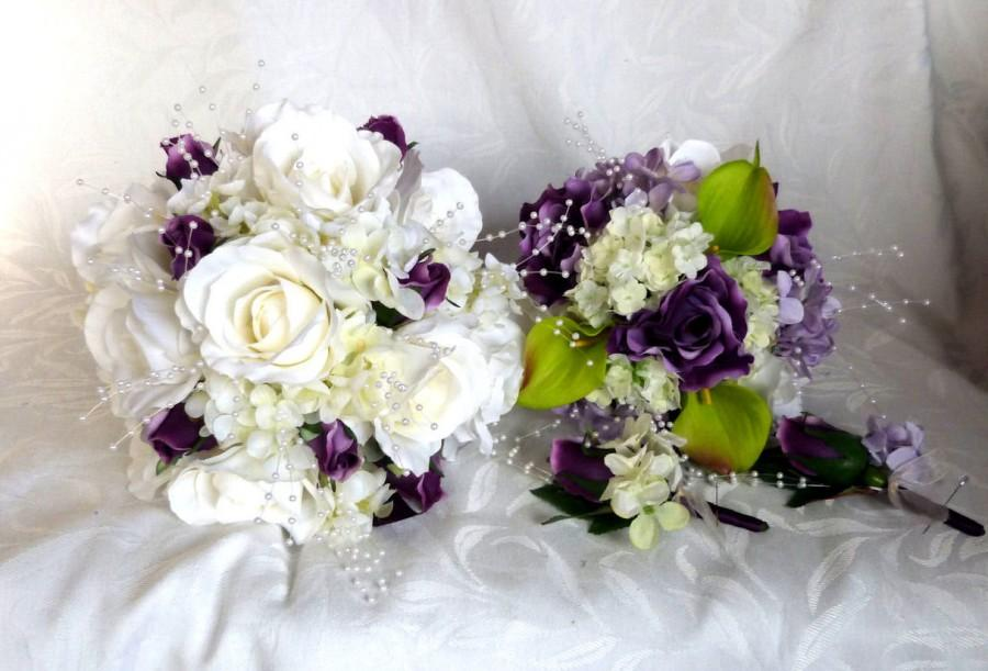 Rose Bridal Bouquet 4 Piece Set Wedding Bouquet White And Purple ...
