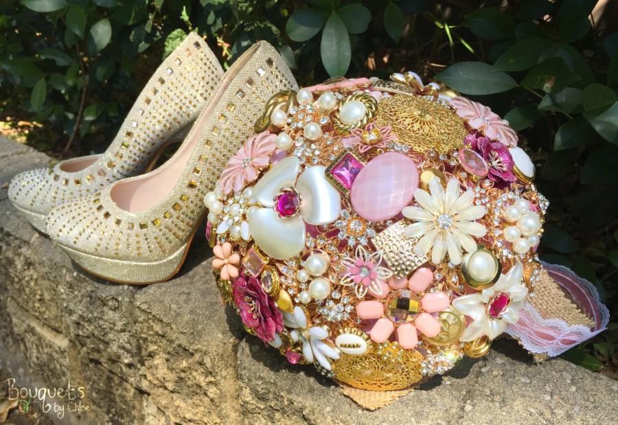 Mariage - Wedding Brooch Bouquet, Broach Bouquet, Brooch Bouquet, Pink Gold Bouquet, Gold Wedding, Bridal Brooch Bouquet, Button Bouquet, DEPOSIT ONLY
