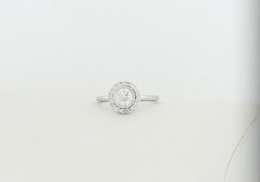 Wedding - Half Carat Halo Set Diamond Ring, Round Brilliant Cut Diamond Halo Engagement Ring, White/Yellow Gold Diamond Halo Engagement Ring,Halo Ring
