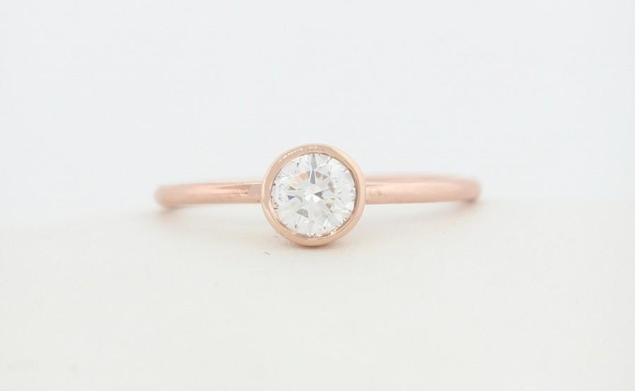 زفاف - GIA Certified 0.30 H Color SI1 Quality Round Brillaint Cut Diamond Engagement Ring available in White,Rose,and Yellow Gold, Engagement Ring