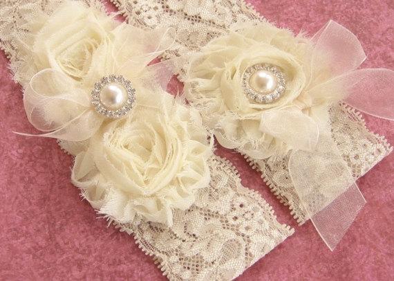 Wedding - Vintage Bridal Garter Wedding Garter Set Toss Garter included  Ivory with Rhinestones and Pearls  Custom Wedding colors
