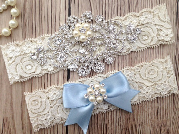 Wedding - Something Blue Garter - Wedding Garter - Bridal Garter Belt - Crystal Rhinestone - Pearl Garter - Lace Blue Garter  - Blue Wedding Garter