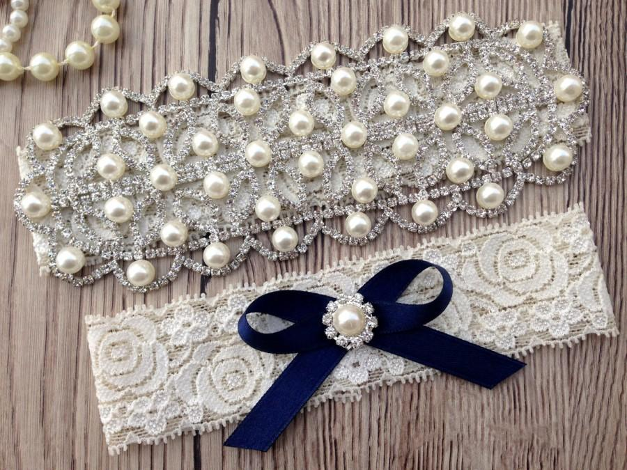 Свадьба - Something Blue Garter - Blue Lace Garter Belt - Bridal Garter - Wedding Garter - Crystal Rhinestone Garter - Pearl Garter - Lace Garter Set
