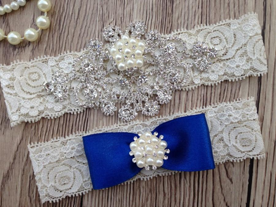 Hochzeit - Royal Blue Garter - Wedding Blue Garter - Royal Blue Garter -Crystal Rhinestone - Pearl Garter - Lace Blue Garter - Wedding Blue Garter Set