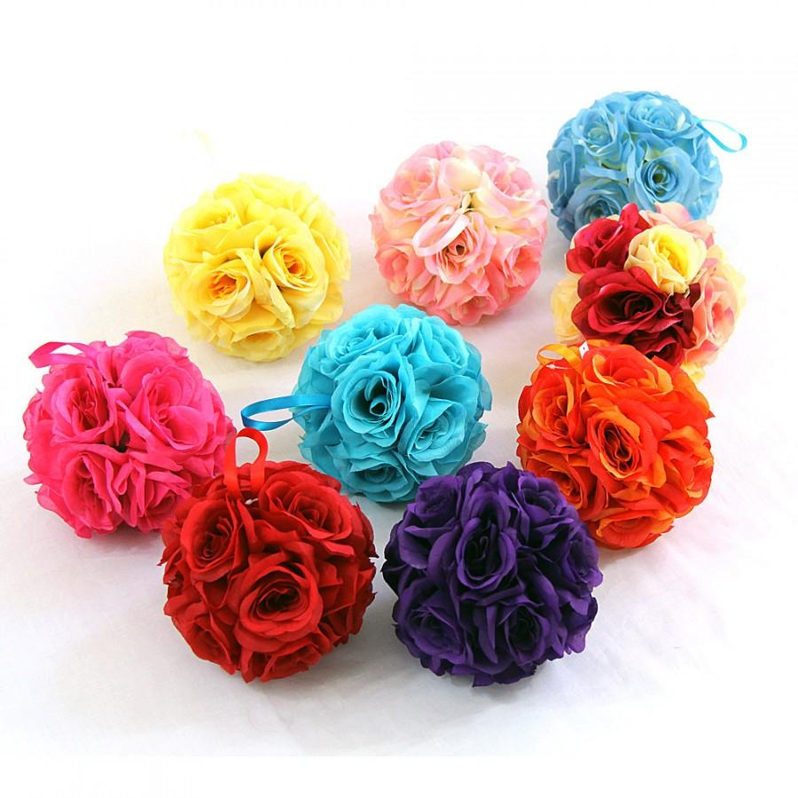 "زفاف - 7"" Silk Rose Wedding Flower Hanging Ball Decorations Floral Supplies Kissing Balls"
