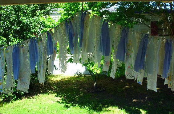 Wedding - rustic blue wedding garland ready to ship fabric garland wedding accessories blue fabric garland wedding decoration