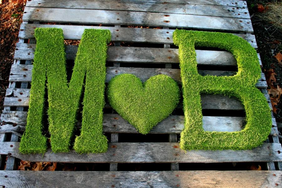 Wedding - TWO 24 inch Moss Letter Moss Covered Monogram Letters and HEART-Moss Covered Letter Initial Wedding Home Door-I have made 100s of these