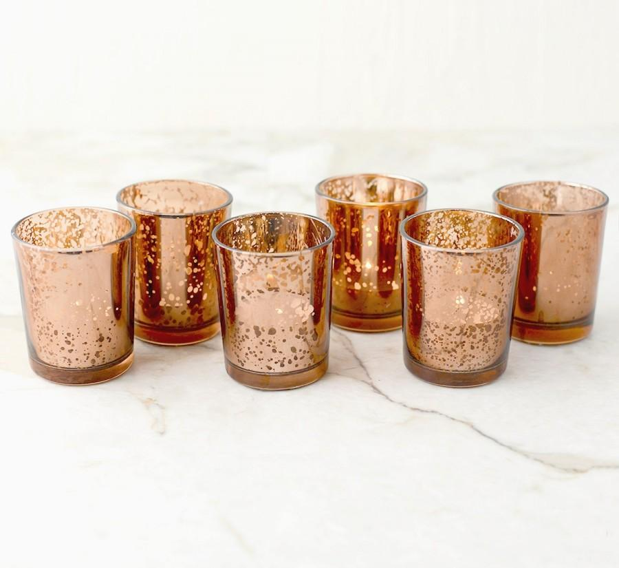 Set Of 12 Copper Rose Gold Mercury Glass Candle Votive