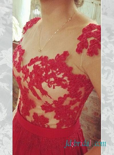 Hochzeit - Red lace appliques chiffon long prom dress 2016