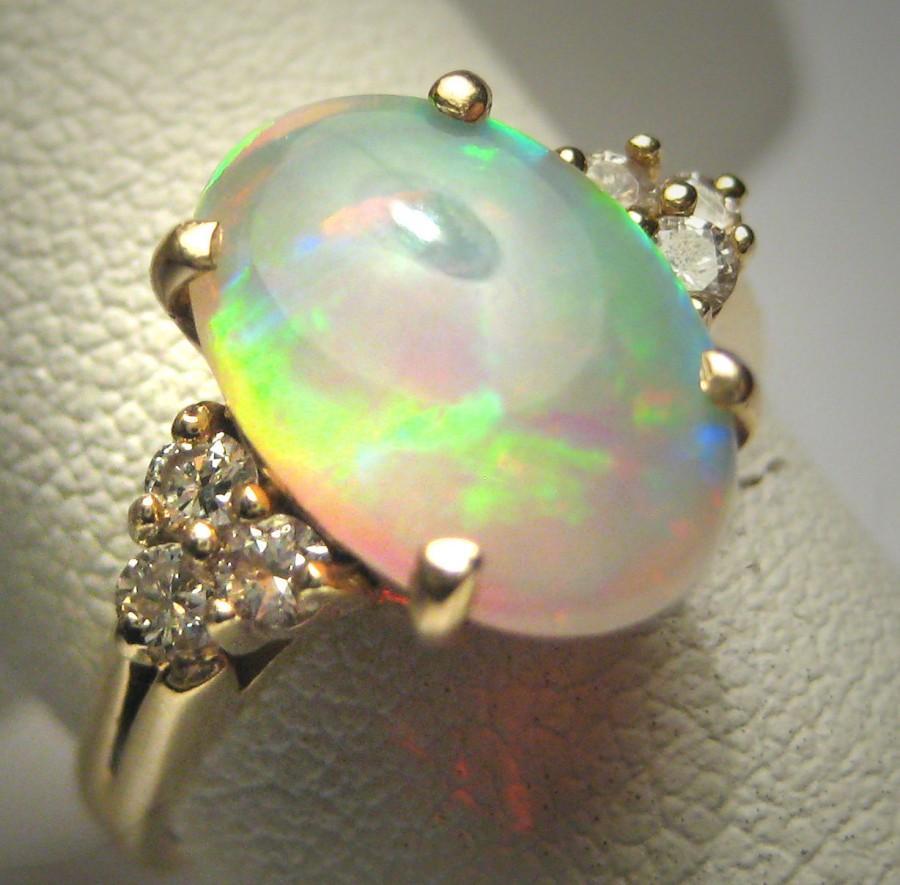 Hochzeit - Antique Australian Opal Diamond Ring Wedding Art Deco 14K Gold 1950