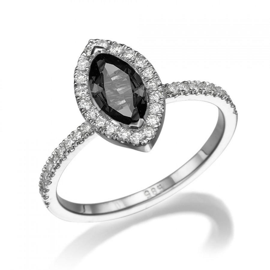 black ring 14k white gold ring cushion halo ring