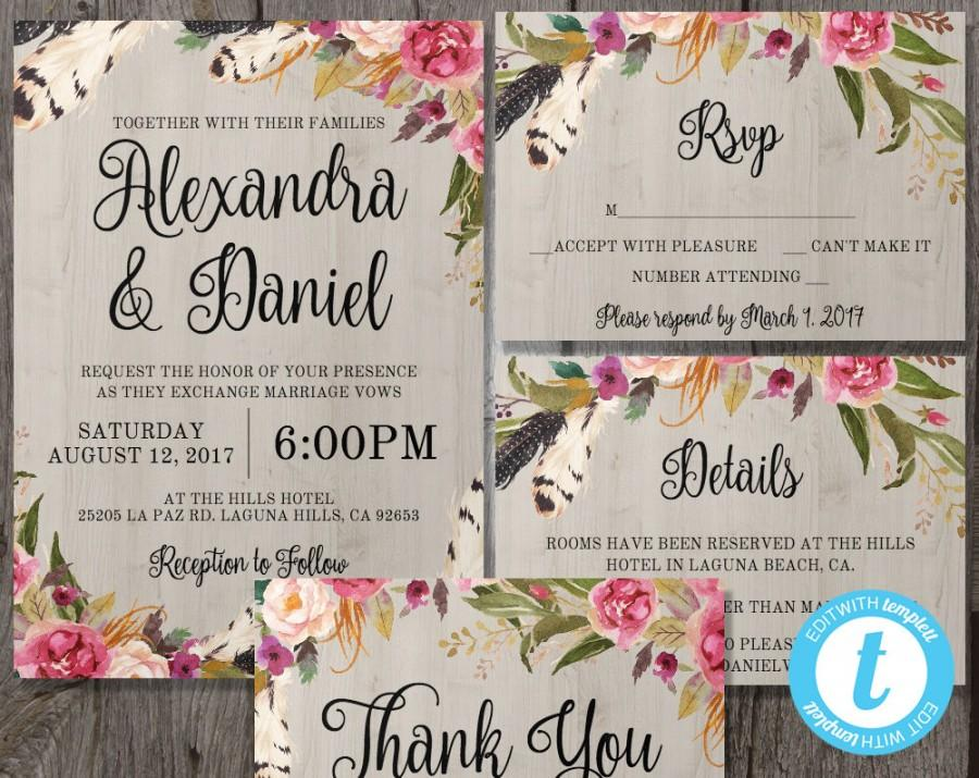 Printable Boho Wedding Invitation Template Set + RSVP + Details + ...