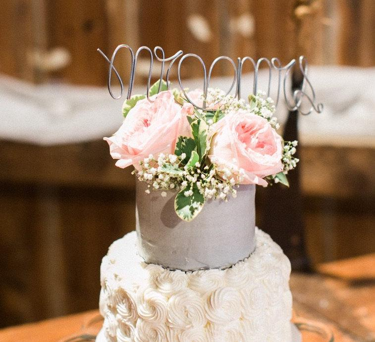 Mariage - Silver Mr. & Mrs. Wire Cake Topper
