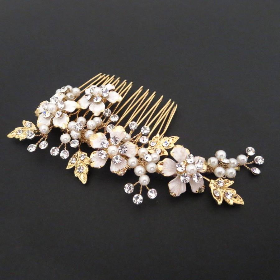زفاف - Gold Bridal hair comb, Gold Wedding headpiece, Bridal headpiece, Crystal headpiece, Rhinestone hair comb