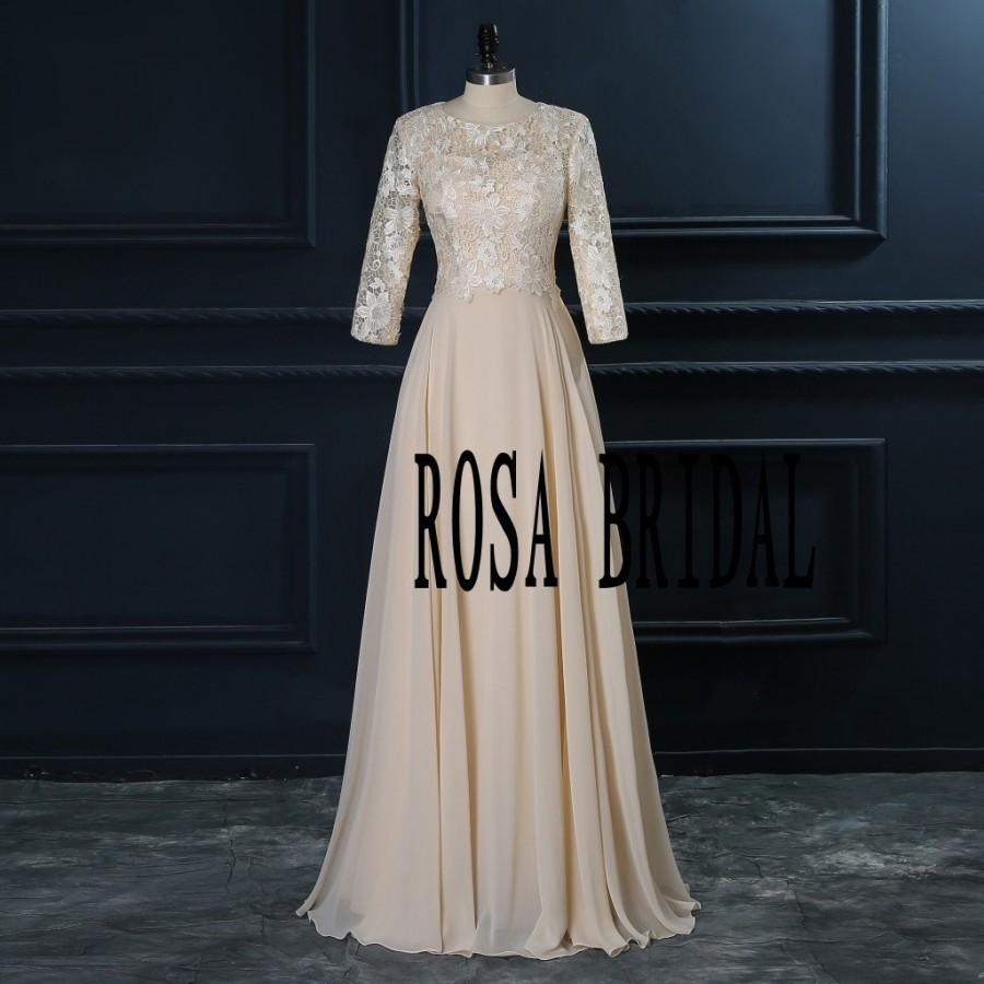 Long sleeve bridesmaid dress champagne champagne lace for Champagne colored wedding dresses with sleeves