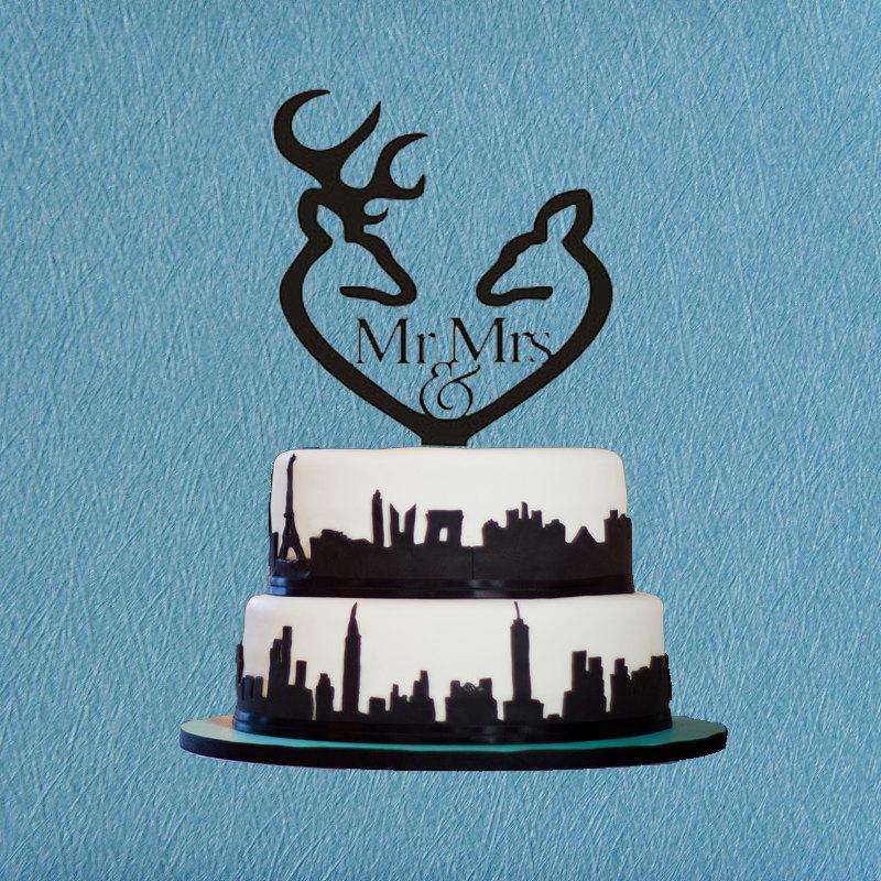 Свадьба - Mr & Mrs Cake Topper,Deer Cake Topper,Hunting Cake Topper,Wedding Cake Topper Wilderness Cake Topper,Antler Cake Topper