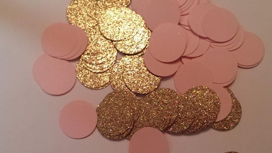 Pink and Gold Confetti- Round Confetti- Bridal Shower Decor- Pink and Gold  Baby Shower Decor- Wedding Decor- Quinceanera Decor 15c02aa5c682