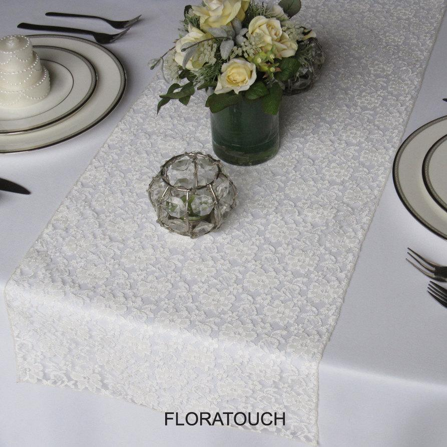 Mariage - Ivory Lace Table Runner Wedding Table Runner - Other colors also available