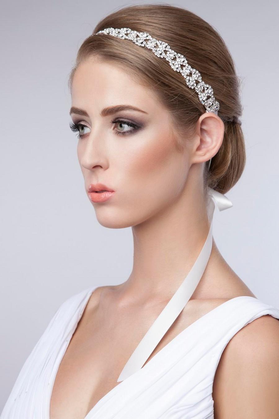 Rhinestone Headband Bridal Wedding Crystal Halo Tie On Ribbon Headpiece 1920s Flapper