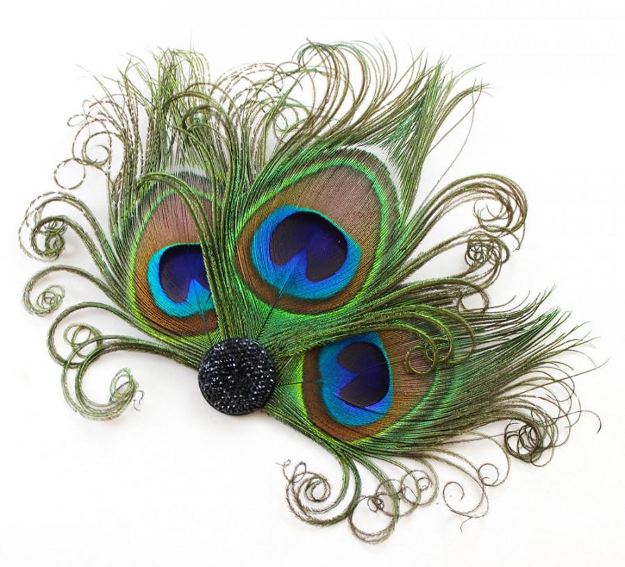 Mariage - Peacock Feather Fascinator, Hair Accessory, Bridesmaids, Head Piece, Hair Clip, Victorian, Jet Black, Pick Your Own Colors