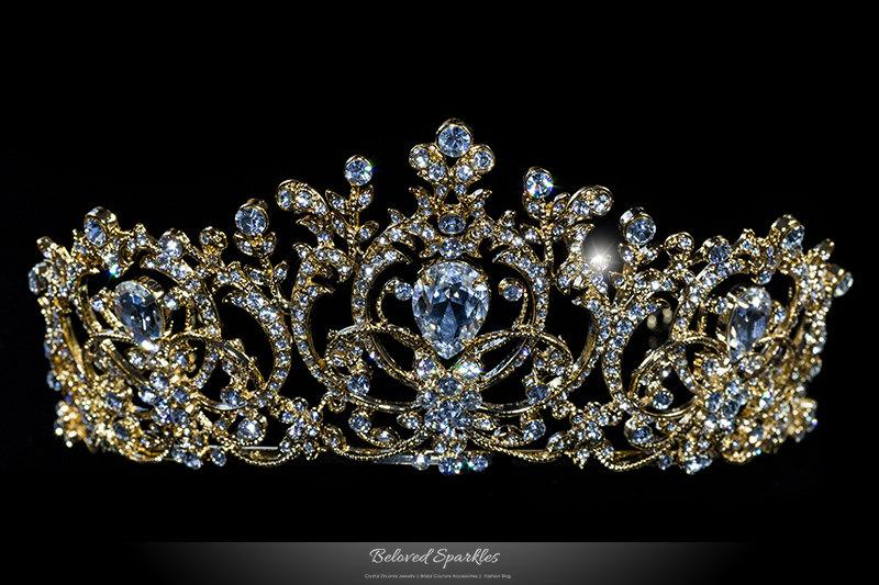 550b95c8e Lucia Vintage Victorian Gold Art Deco Swarovski Crystal Tiara, Bridal Royal  Reign Crystal Crown, Rhinestone Quinceanera Tiara - BSLI116604G