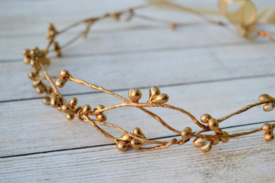 Свадьба - Gold bridal crown, Flower girl hair wreath, Bridal headpiece, Gold halo, Gold berry crown,Gold hair accessories, Toddler crown, Gold wedding