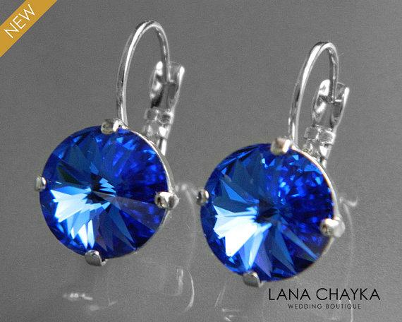 Shire Crystal Earrings Swarovski Rivoli Silver Royal Blue Leverback Wedding Hypoallergenic