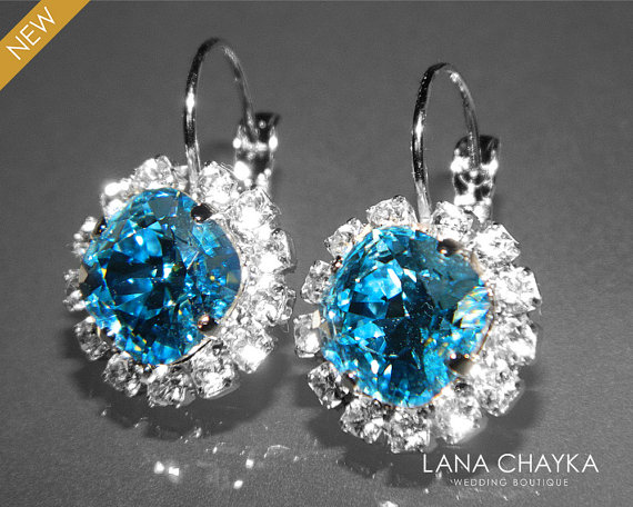 Свадьба - Aquamarine Halo Crystal Earrings Swarovski Rhinestone Silver Earrings Aqua Blue Leverback Hypoallergenic Earrings Bridesmaid Jewelry Wedding