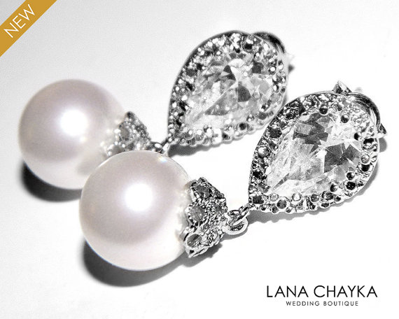 Wedding - White Pearl Bridal Earrings Swarovski 10mm White Drop Pearl Cubic Zirconia Wedding Earrings White Pearl Bridal Earrings Pearl Bridal Jewelry